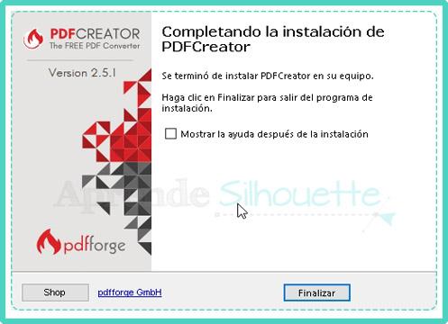 Completando instalación de impresora PDF