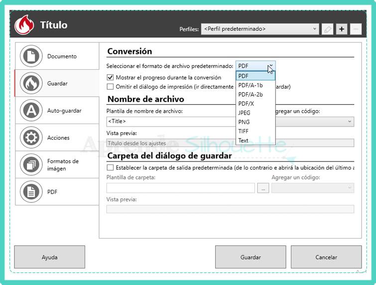Configuración de Formato de archivo