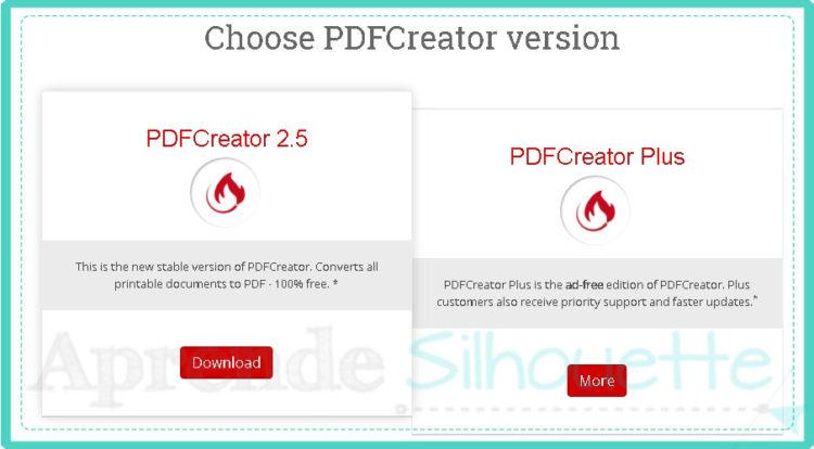 Seleccionar version de la impresora PDF