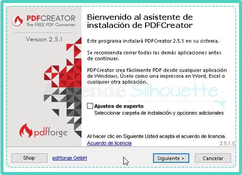 Inicio del asistente de instalacion de la impresora PDF