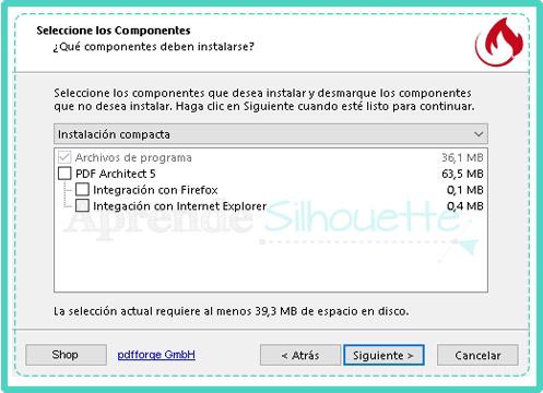 Seleccionar los componentes a instalar para luego configurar Impresora PDF
