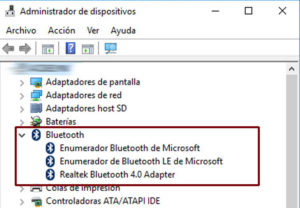 bluetooth administrador dispositivos